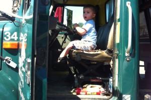 Honking the dump truck horn!