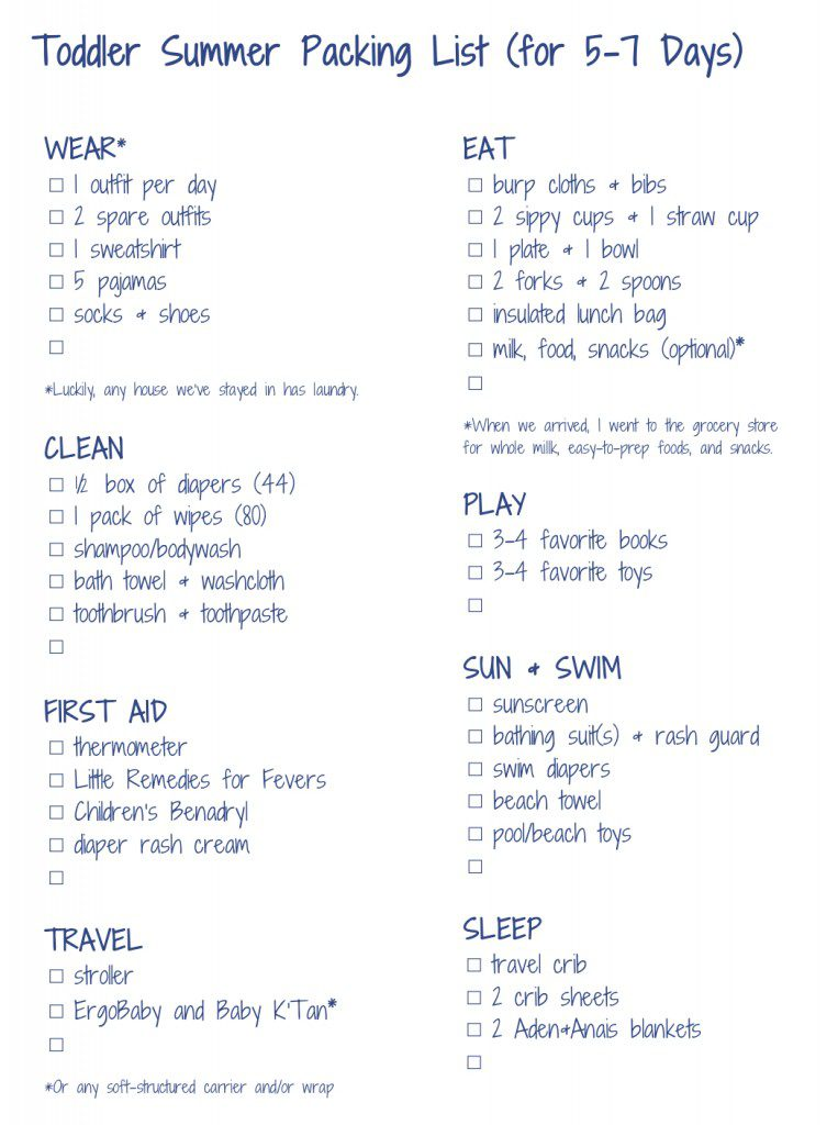 Dont Forget The Infant And Toddler Summer Packing Lists