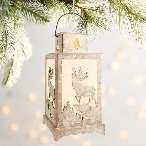 Pier 1 LED Light-Up Gold Lantern with Tree Ornament